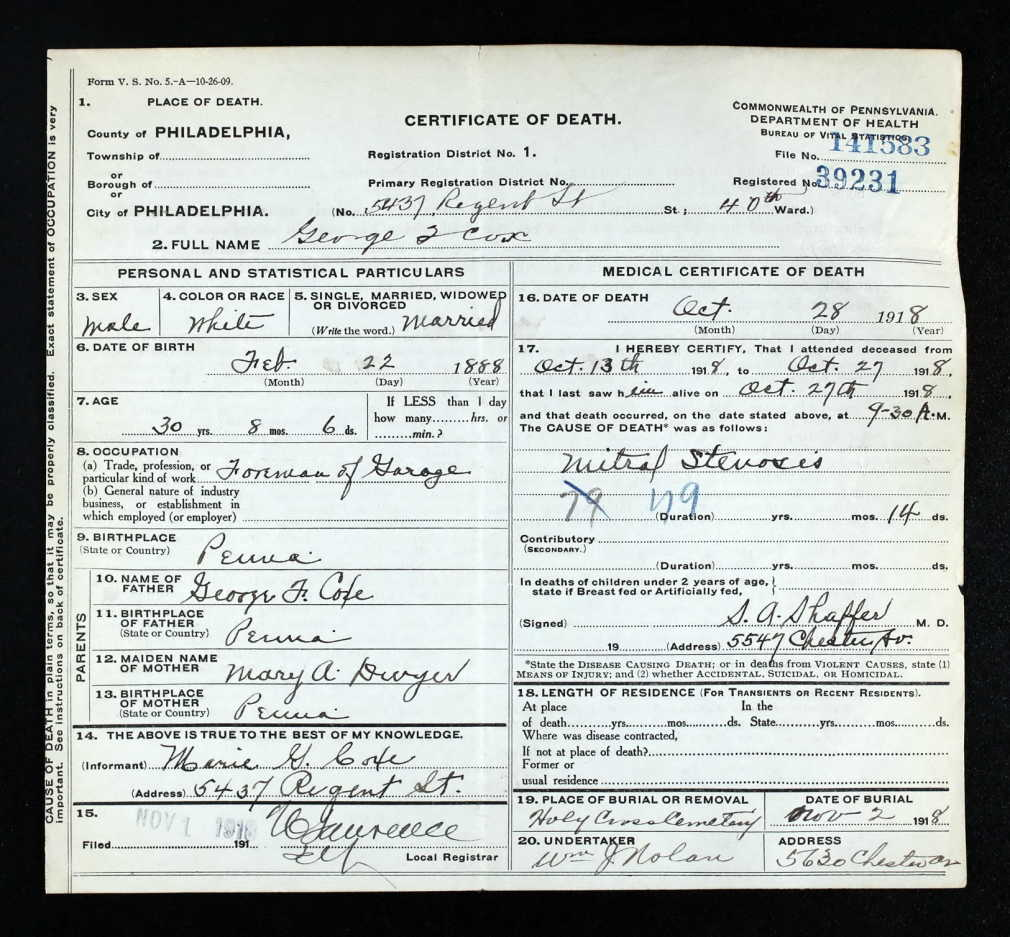 George Coxe death certificate